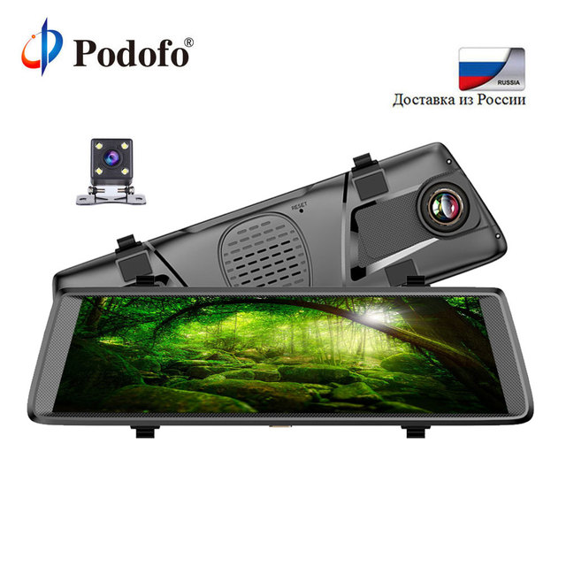 """Podofo V6 10"""" Touch IPS 3G Android Mirror GPS FHD 1080P Dual Lens Car DVR Wifi Video Recorder Rearview Mirror DashCam Recorder"""