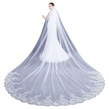 4M One Layer Women Trailing Cathedral Long Wedding Veil Embroidered Floral Lace Applique Scalloped Trim Bridal Veil With Comb