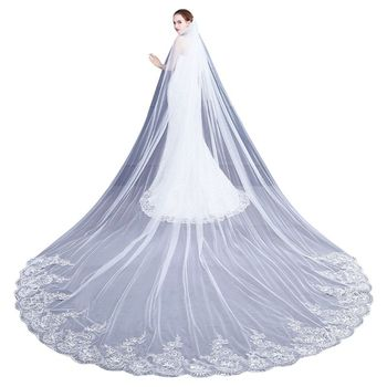 4M One-Layer Women Trailing Cathedral Long Wedding Veil Embroidered Floral Lace Applique Scalloped Trim Bridal Veil With Comb Bridal Veils