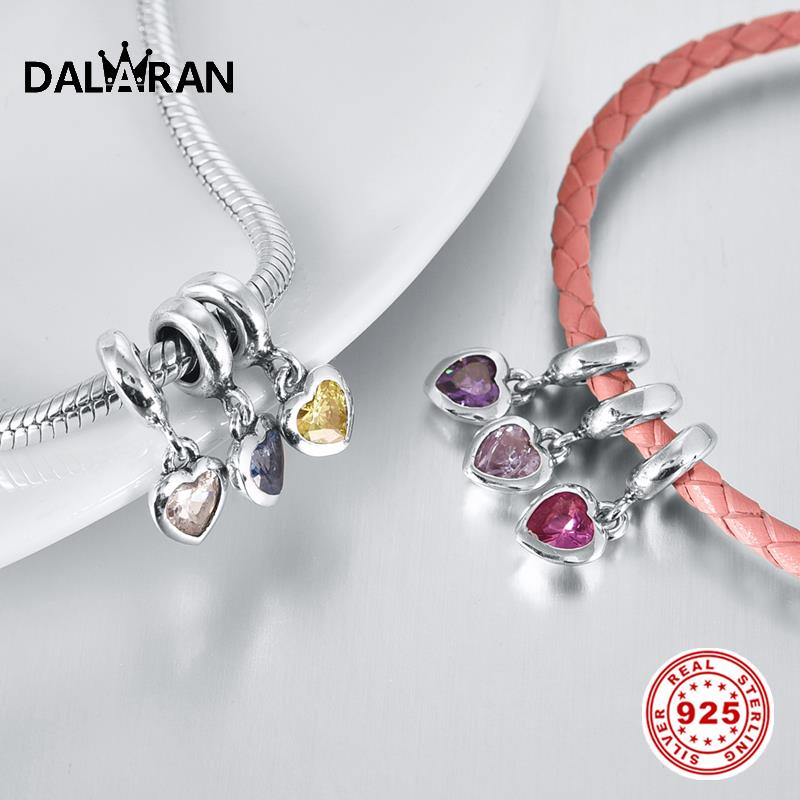 DALARAN 12-Color Heart Shaped Birth Stone Charms 925 Sterling Silver Beads Fit DIY Bracelets Necklaces Women Jewelry Making Gift