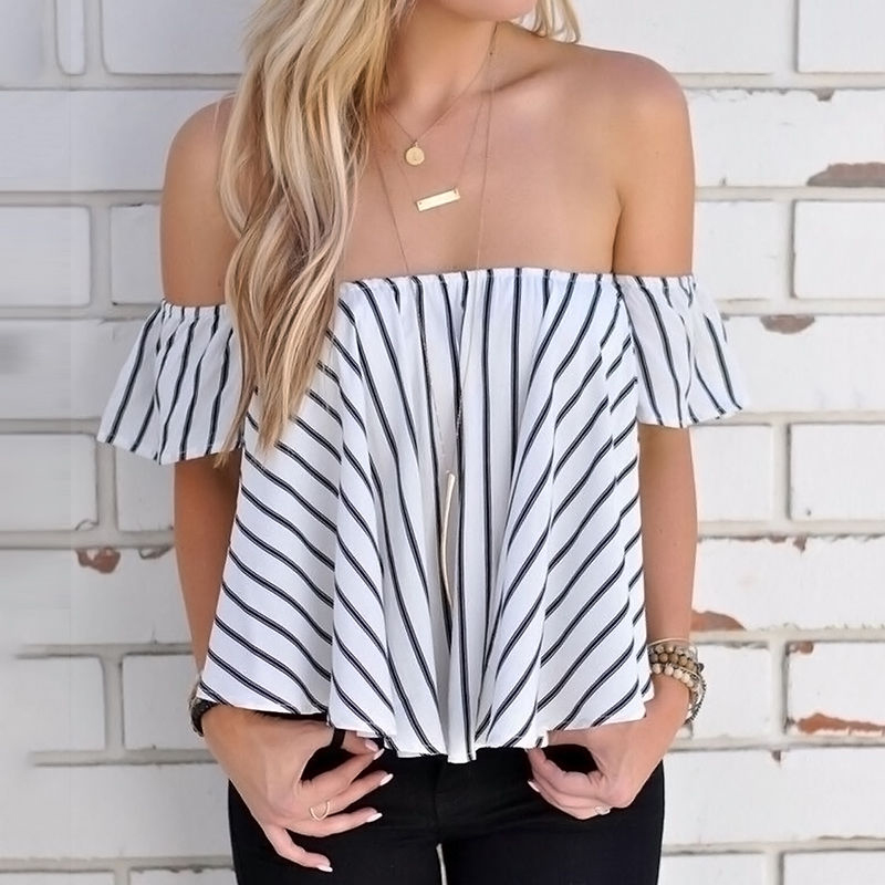 Fashion Boho Short Chiffon Blouse Off Shoulder Crop Tops Women Summer Slash Neck Short Sleeve Striped Loose Women Beach Blouses