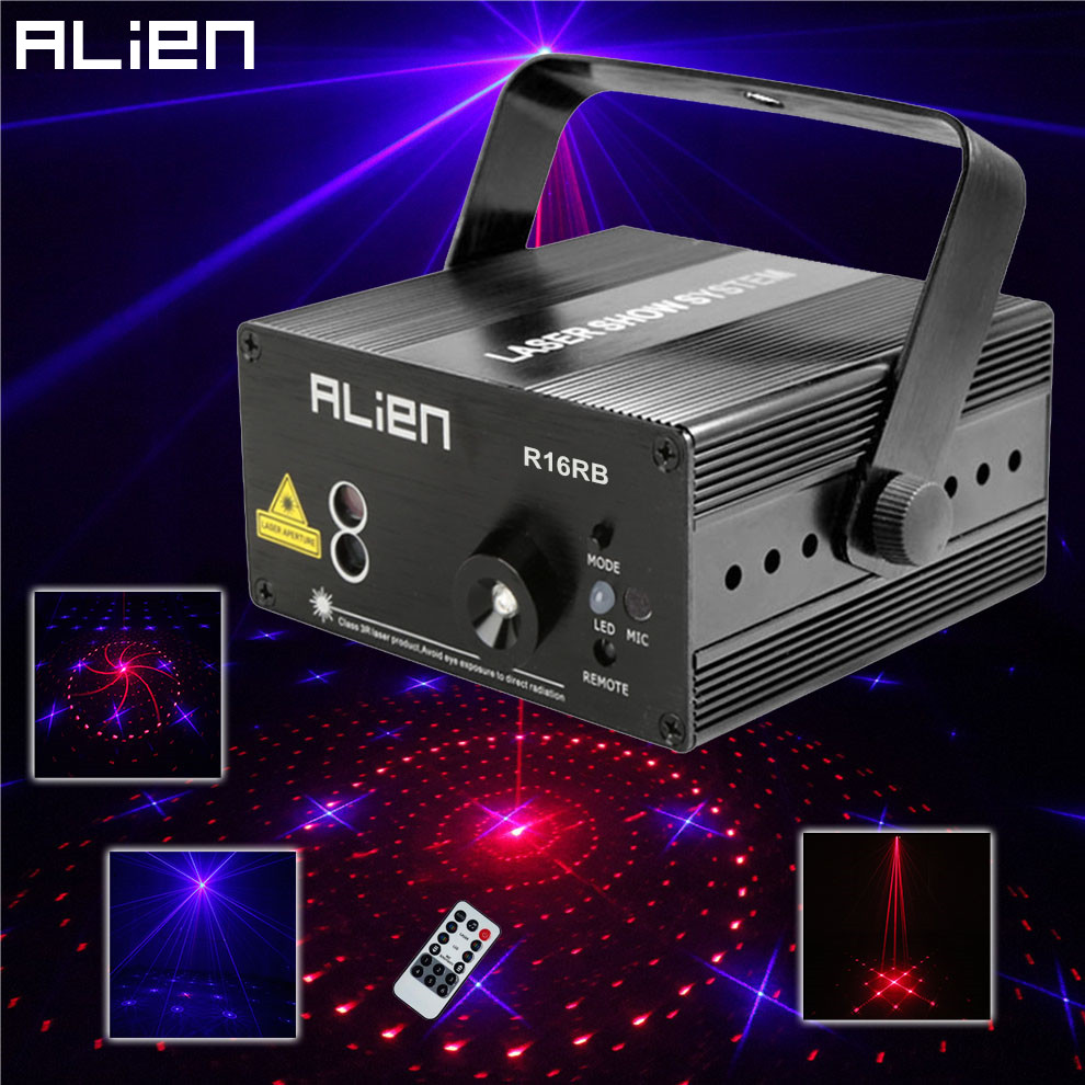 все цены на ALIEN 3 Lens 16 Patterns RB Led Laser Stage Lighting Effect Laser Projector Party Club Bar DJ Disco Home Show Professional Light