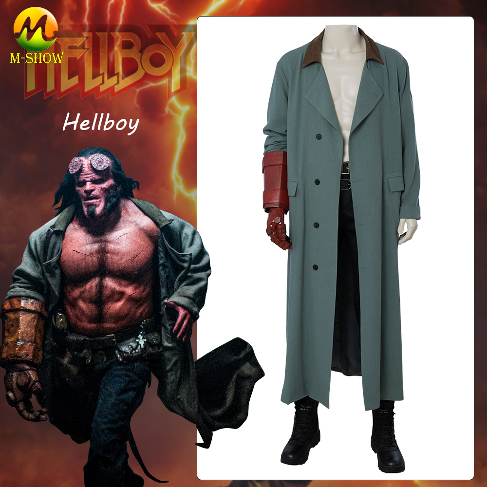 Hellboy: Rise of the Blood Queen Cosplay Costume Hellboy Cosplay Full Set Outfit Coat Trench Halloween Costume Custom Made
