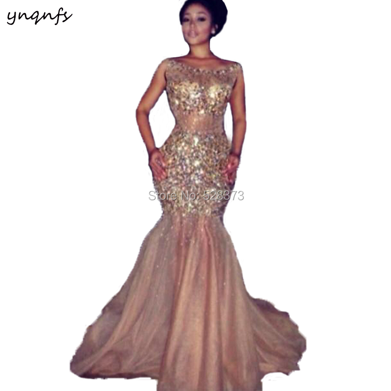 YNQNFS PD106 Sexy See-Through Crystal   Dress   Bare Backless Champagne Prom Party Gown   Bridesmaid     Dresses   2019