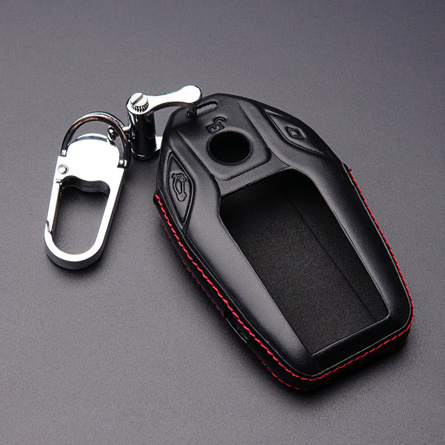 Online shop genuine leather car key fob cover case protected genuine leather car key fob cover case protected wallet hood holder keychain for bmw 2017 5 7 series 730 740li 750 accessories sciox Image collections