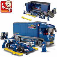 SLUBAN 0357 Blocos De Construção Da Cidade Truck sluban f1 car racing tijolos Educação brinquedos brinquedos educativos presente de Natal