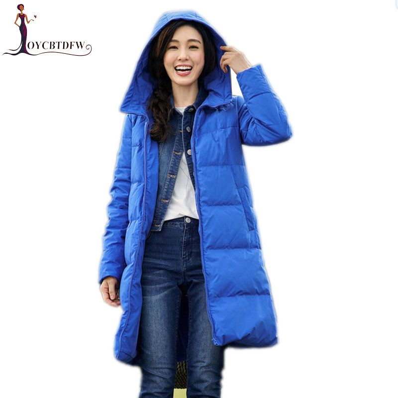 Winter women   down     coat   2018 new solid color female overcoat mid-long high quality outerwear hooded warm ladies   down   jacket ll685