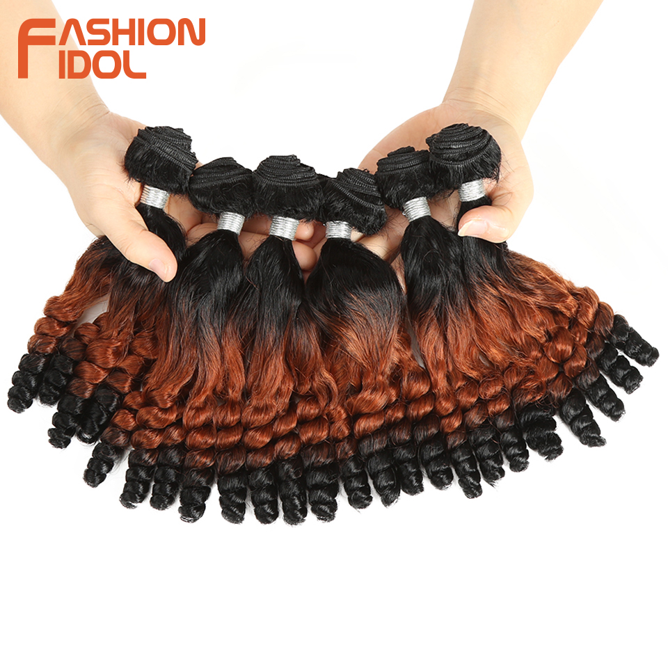 Image 3 - FASHION IDOL Afro Kinky Curly Hair Bundles 14inch 7Pieces/lot Upper Straight Lower Bend Synthetic Hair Lace Front With Closure-in Synthetic Weave from Hair Extensions & Wigs
