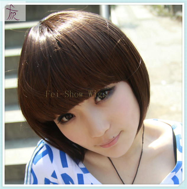 BOB Style Full Cap Cut Bang Short Party Wig For Women s Party Cosplay Black  Short Wigs 1de1ac1ad