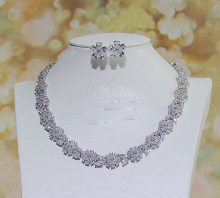 Flowers zircon necklace + earrings sets banquet accessories bridal dress accessories clavicle chain