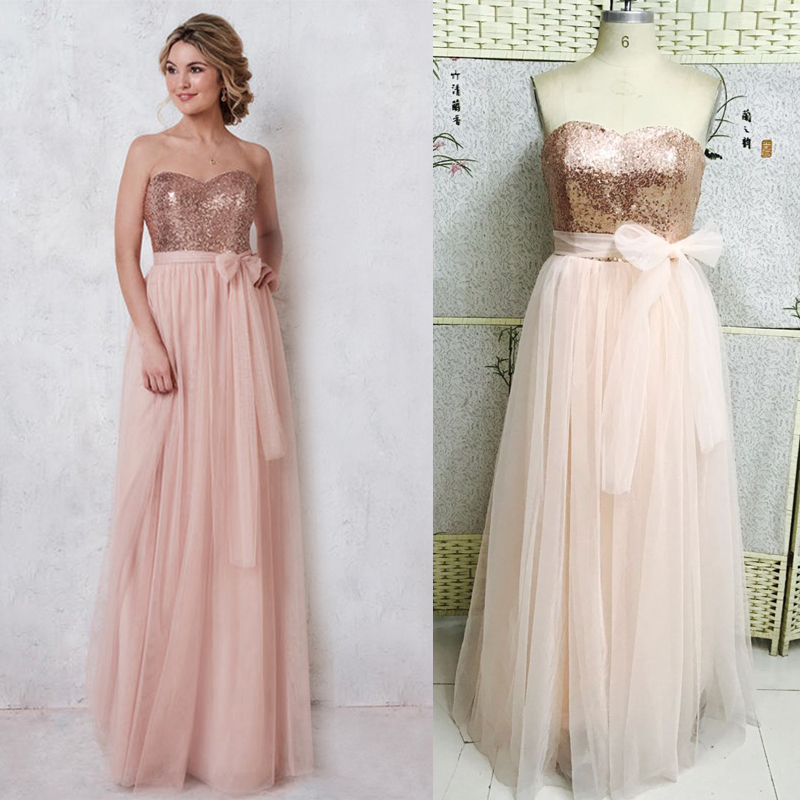 New Real Photo Blush Pink A Line Bridesmaid Dresses 2017 Custom made Sleeveless Sweetheart Chiffon Prom Gown Maid Of Honor Gowns