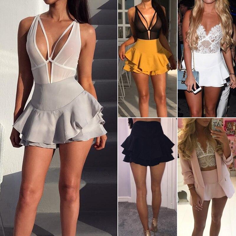 Ursohot High Waist Ruffles Shorts Women Pleated Package Hip Skirts Elegant Mini Casual Short Skirts For Women 2017