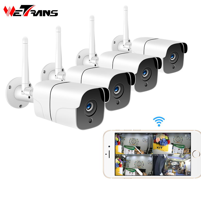 Wetrans Wireless Security Kamera System 1080P IP Kamera Wifi SD Karte Outdoor 4CH Audio CCTV System Video Überwachung Kit camara