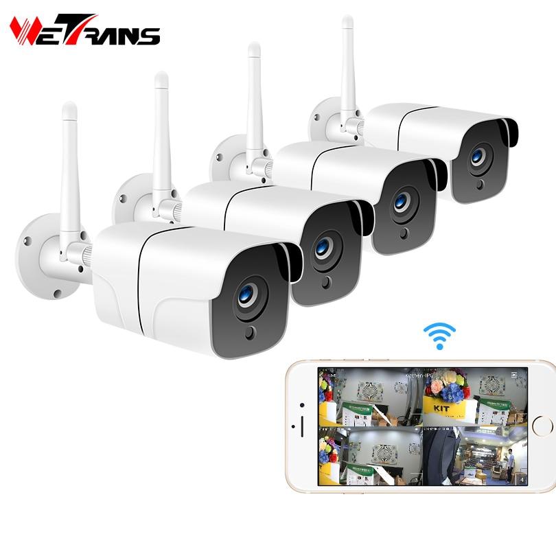 Wetrans 1080P Sistema De Câmera de Segurança Sem Fio Wi-fi Câmera IP Cartão SD Ao Ar Livre 4CH Áudio CCTV Sistema de Kit de Vigilância Por Vídeo camara