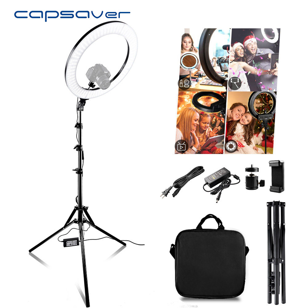 capsaver RL 18A LED Ring Light Bi color 3200K 5500K CRI90 55W 512 LEDs 18 Photography