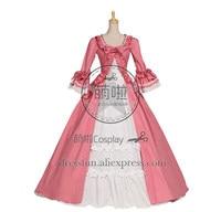 Gothic Renaissance Victorian Steampunk Gown Reenactment Pink Lolita Dress Costume Three Quarter Halloween