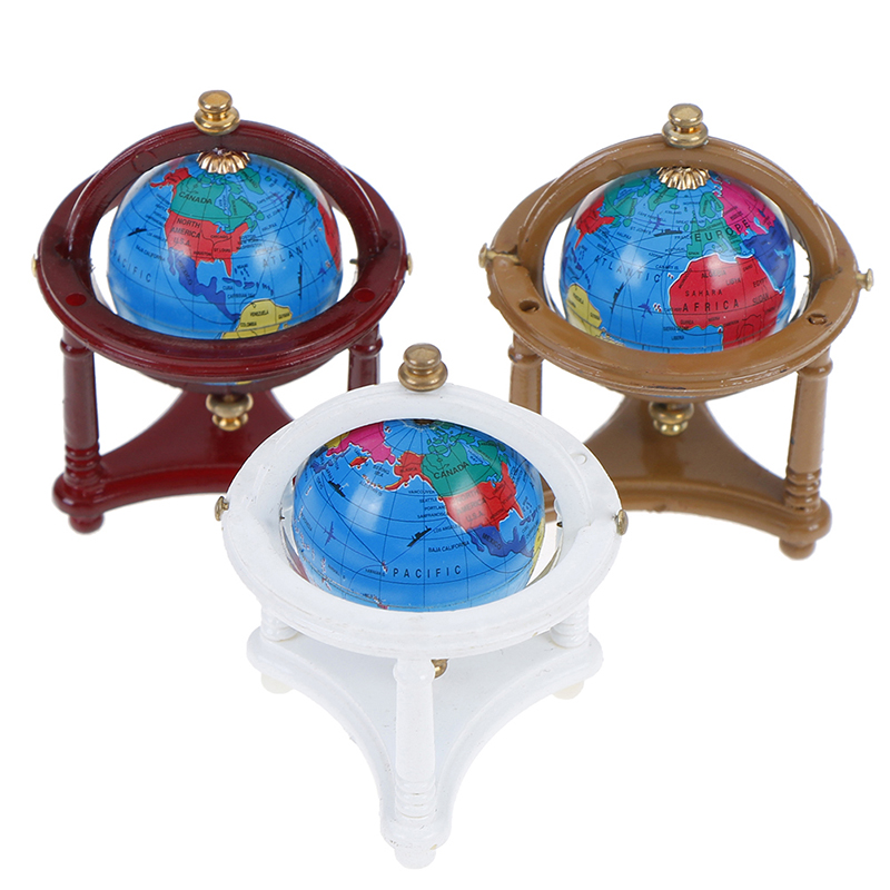 Dollhouse Rolling Globe With Wood Stand 1:12 Miniature Dollhouse Study Livingroom Bedroom Reading Room Furniture Accessory