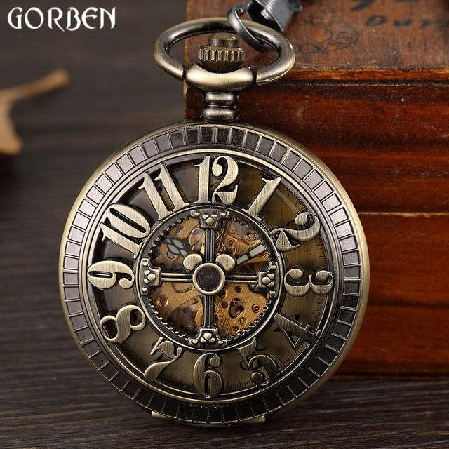 Retro Bronze Hollow Digital Number Dial Mechanical Pocket Watch Waist Chain Vint