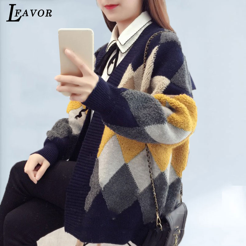 Plaid Jacket Women Sweater Autumn New Lazy Wind Knitted Cardigan Thickened Long Section Loose Retro Sweater Cardigan Women Coat