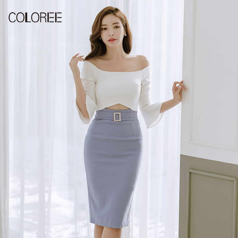 COLOREE Women Slash Neck Off Shoulder Retro Contrast Patchwork Wear To Work Business Vestidos Office Bodycon Sheath Female Dress