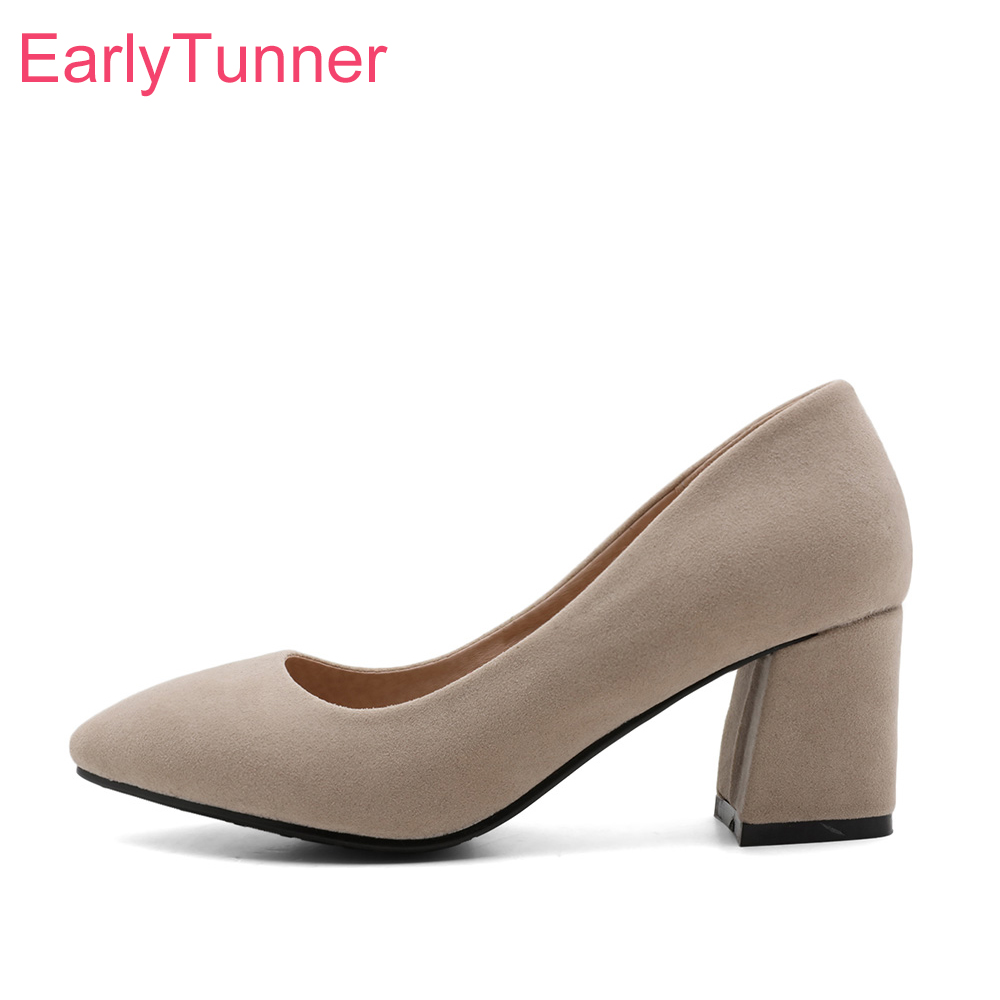 Brand New Glamour Gray Beige Women Office Formal Pumps Comfortable High Heels Lady Nude Shoes EG77 Plus Big Size 10 31 45 47