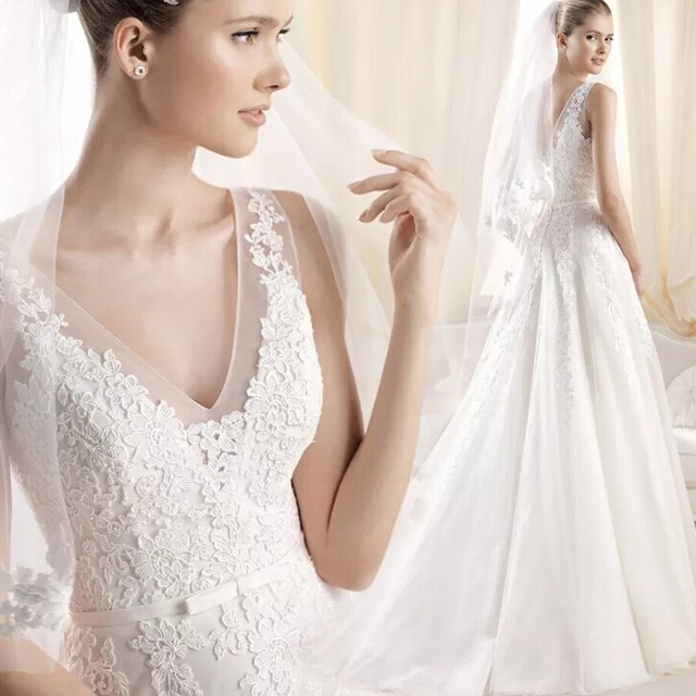 Vestidos De Novia 2017 New Design Real Photo wedding dresses Sleeveless Elegant V  Neck vestido Wedding Dress Brazil 2016