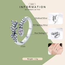 Chic Vines Clear CZ Sterling Silver Adjustable Ring For Women