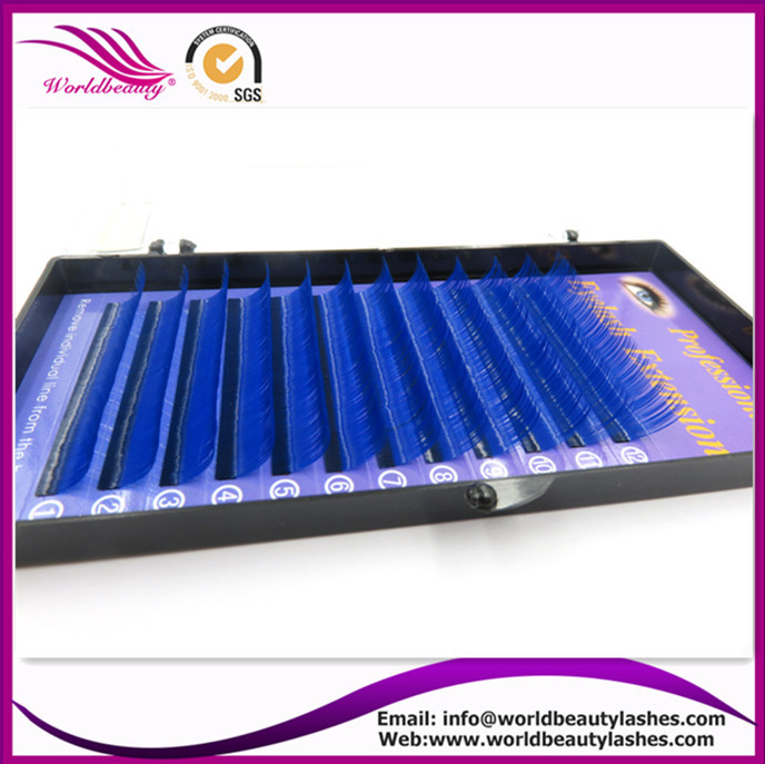 New Products,0.07 J/B/C/D curl 8-13mm each length 2 lines Blue color Eyelash Extension ,Fashion False eyelashes