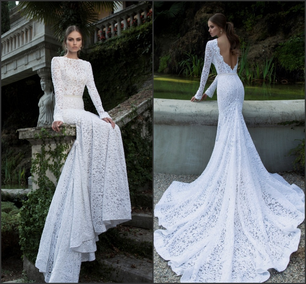 Simple Elegant Open Back Long Sleeve Wedding Dress: 2014 Berta Vintage Lace Wedding Dresses Bateau Deep V Open