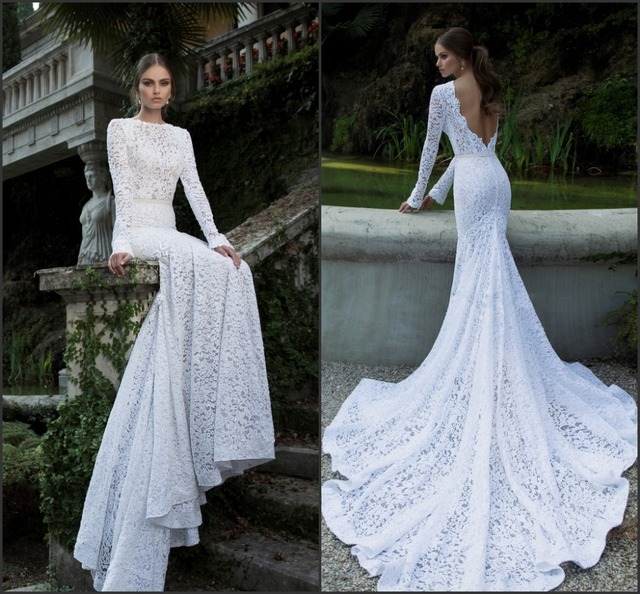 2014 Berta Vintage Lace Wedding Dresses Bateau Deep V Open Back Long Sleeve  Charpel Train Pearls Fitted Mermaid Bridal Gown a963d525f059