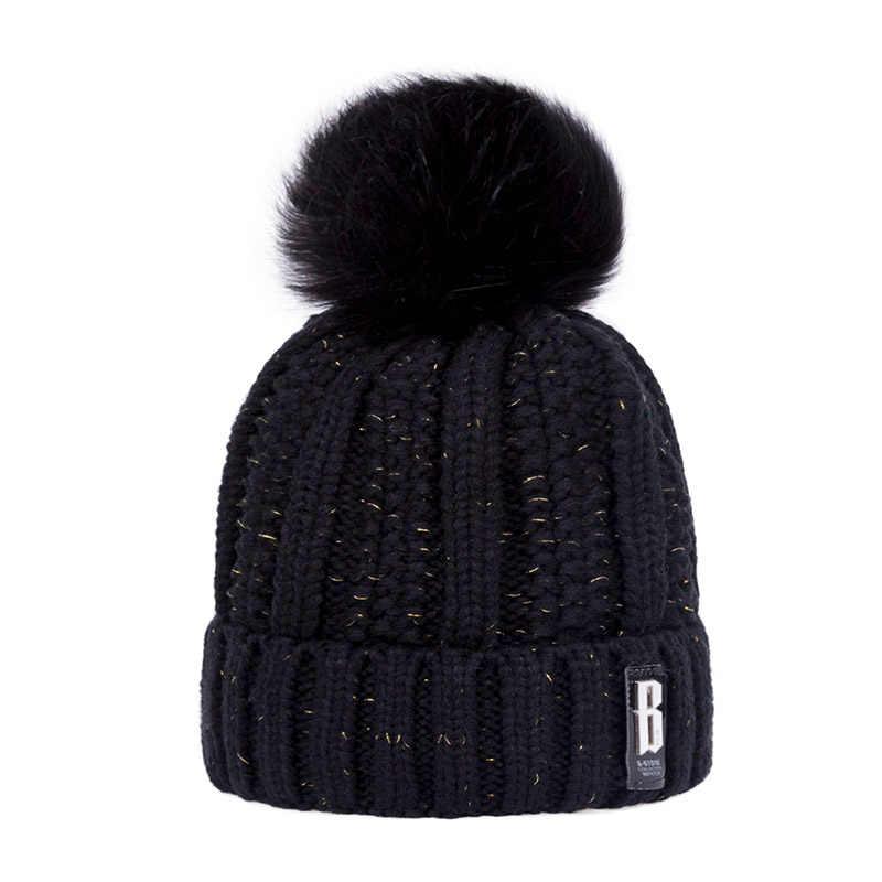 Femmes hiver chapeau coton tricot mode hiver chaud bonnet chapeau réglable capuche doux pompon chapeau Sports de plein air