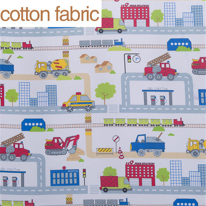 City and car cartoon printed 100 cotton fabric for sewing for Fabric material for sale