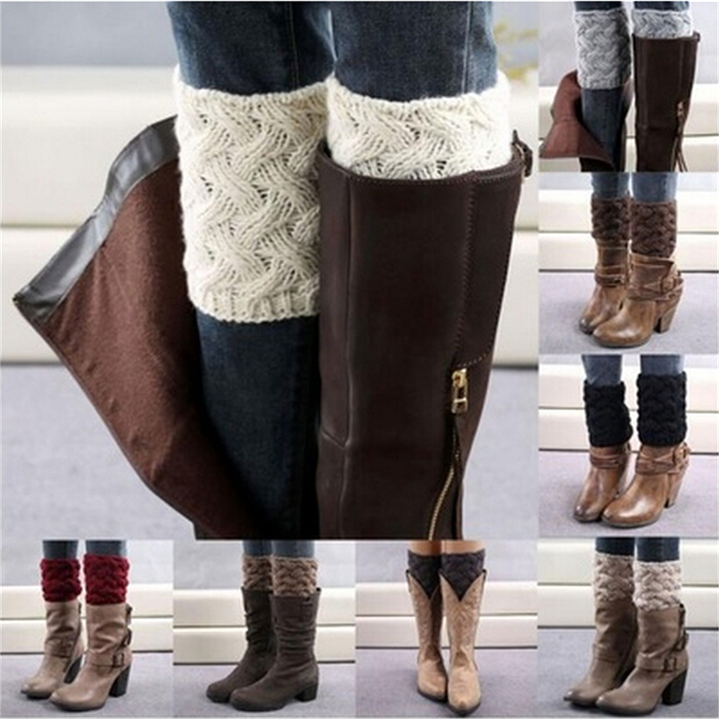 Short Hollow Boot Cuff Calentadores Piernas Gaiters Knitting Boot Socks Autumn Winter Women Knitted Leg Warmers