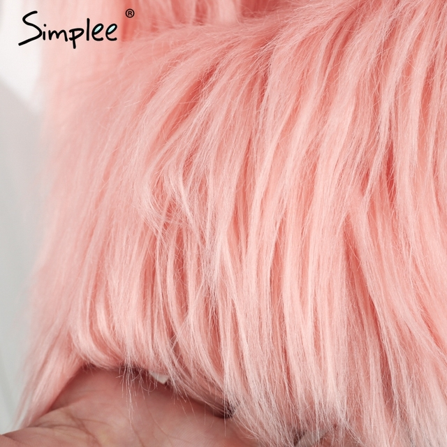 Simplee Faux fur pink women vest Autumn winter sleeveless white outerwear Hairy fluffy casual fashion overcoat 2018 10