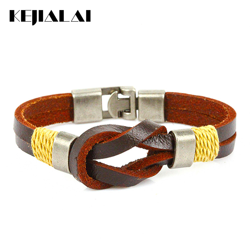 Kejialai Punk Style Men Leather Bracelet Charm Bangles High Quality PU Leather Three Rope Braid Bracelet Men Women Buckle Homme