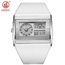 OHSEN цифровой бренд кварцевые мужские модные спортивные часы наручные часы Dual Time дисплей 30 м водонепроницаемый резиновый ремешок Белый ЖК-дисплей мужские часы