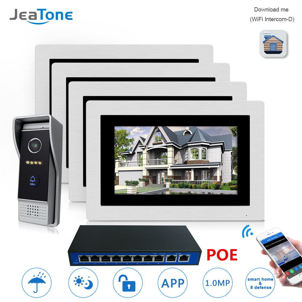 7'' POE IP Intercom WIFI Video Door Phone Intercom Wireless Door Bell Home Apartment Access Control System Touch Screen 1-4 7 inch password id card video door phone home access control system wired video intercome door bell