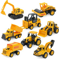 8Pcs Set Simulation Of Engineering Vehicles Dump Truck Mini Alloy Model Classic Toy Birthday Gift For