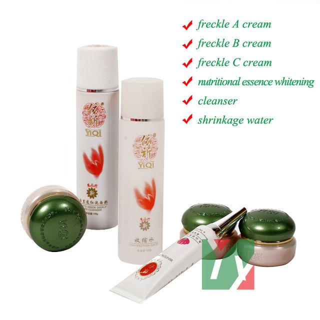 Segunda generación 3 + 3 de Belleza de yiqi Que Blanquea la crema para la cara remove frekcle en 7 días contra la mancha crema para la cara 6 unids/set