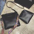 O novo simples balde saco da forma bolsa de ombro bolsa saco Do Mensageiro Do couro grande two-piece