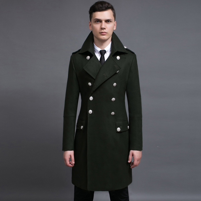 c036ae977 Design mens coats and jackets S 6XL oversized tall and big men green woolen  coat germany army navy pea coat free shipping-in Wool & Blends from Men's  ...