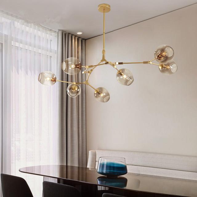 Modern Chandeliers Lighting Branching Bubble Ball Pendant Lamp Gold Metal Hanging Living Room Dinning Light Fixtures