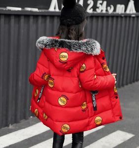 Image 3 - 2020 الشتاء الطفل بنات جاكيتات موضة طباعة مقنع ملابس الاطفال الأطفال سميكة ملابس خارجية معطف دافئ سترات