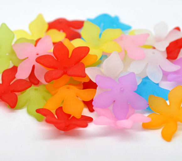 At Random Flower Frosted Acrylic Beads 28x7mm, sold per packet of 15 new