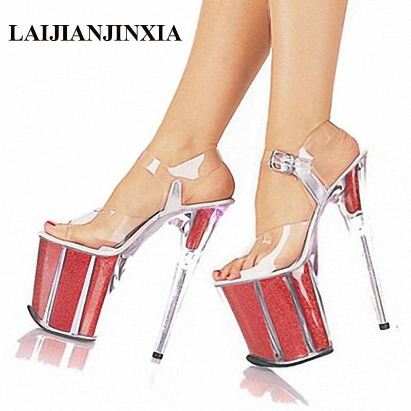 LAIJIANJINXIA/Новые горячие Для женщин обувь женские пикантные Туфли на каблуке для вечеринки свадебные туфли На прозрачной платформе 20 см сандал...