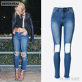 New Fashion Ladies Blue Ripped Jeans Women High Waist Skinny Jeans Femme Stretch Slim Denim Pants Knee with Holes