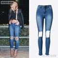 Novas Senhoras Da Moda Azul Rasgado calças de Brim Das Mulheres De Cintura Alta Jeans Skinny Femme Trecho Magro Denim Calças Na Altura Do Joelho com Buracos