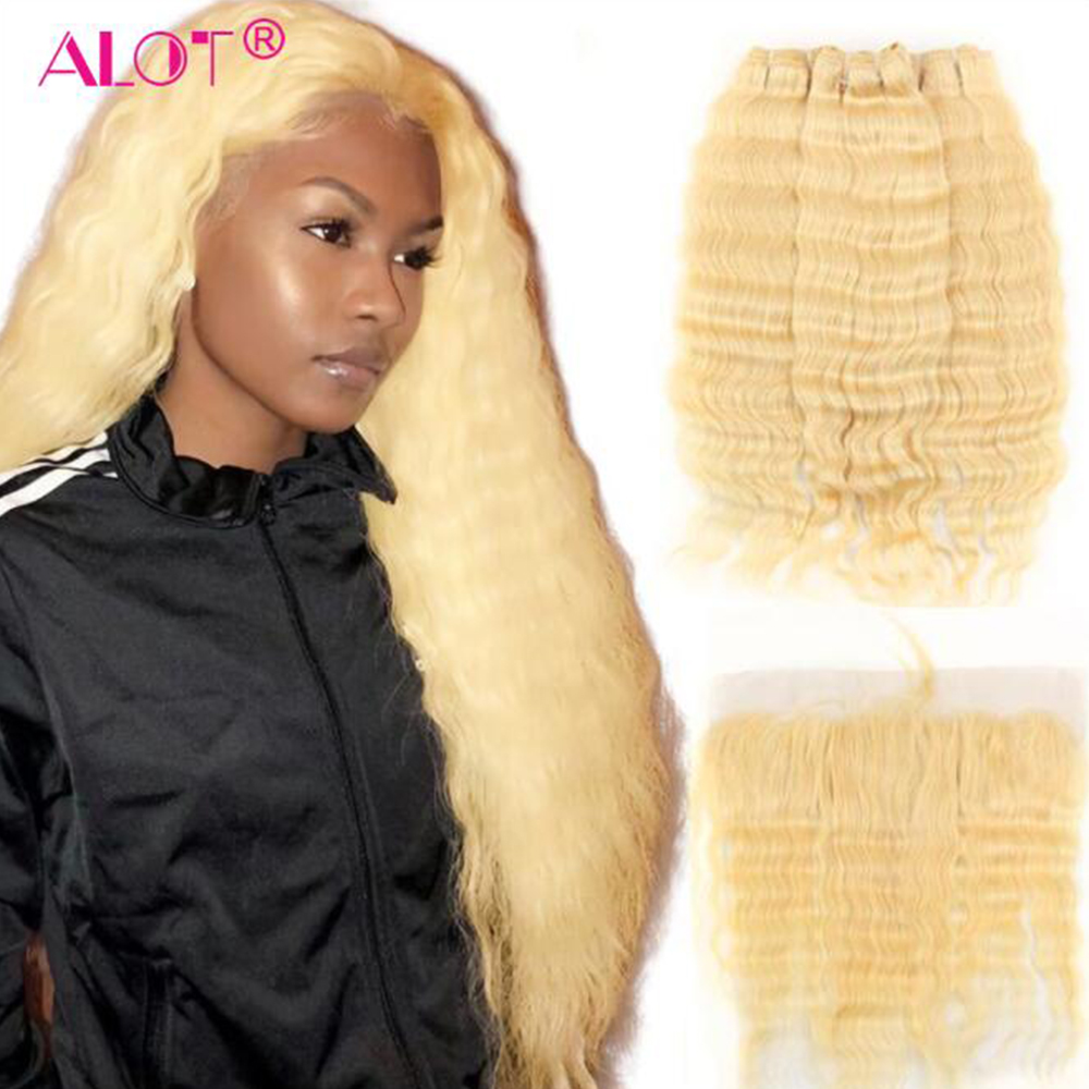 ALOT 613 Deep Wave Hair Bundles With Frontal Transparent Lace Honey Blonde Remy Brazilian Human Hair Weaving With Frontal image
