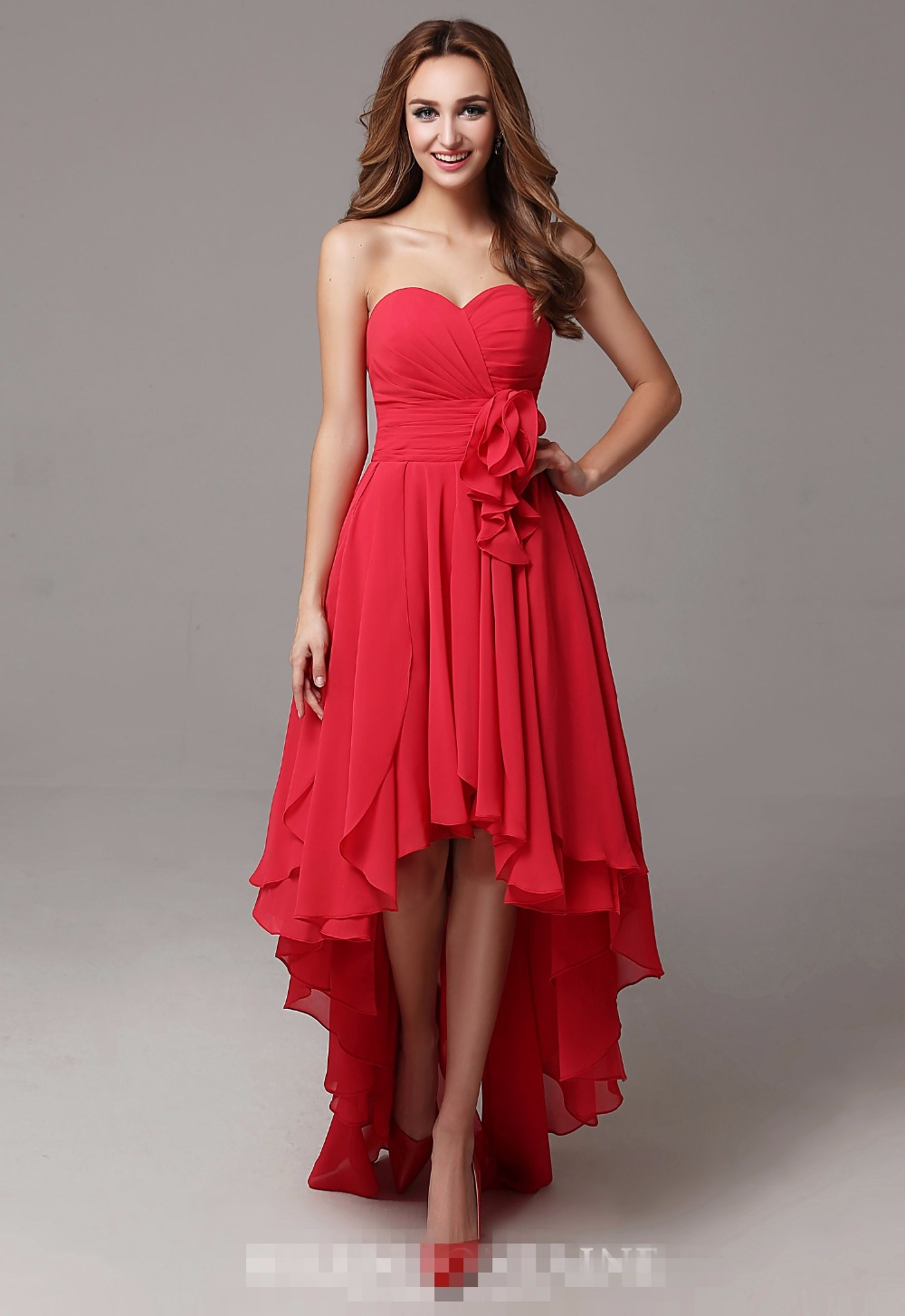 Online get cheap red low back bridesmaid dresses aliexpress 2017 real red high low bridesmaid dresses sweetheart pleats chiffon short front long back beach country ombrellifo Image collections