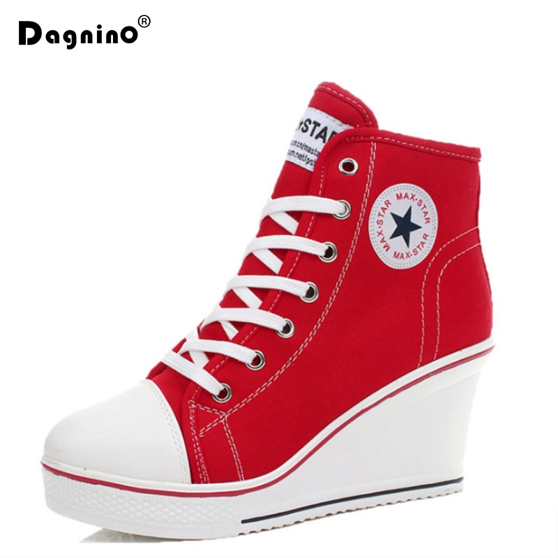 White Women Shoes 2018 Platform Pumps Hidden Wedge Boots Shoes For Women Fashion High Heel Top Casual Canvas Shoes Ladies 35-43 2018 wedge high heels thick soled high top ladies casual shoes women platform canvas shoes hidden wedge heel boots zapatos mujer